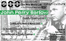 Poster for John Perry Barlow event.